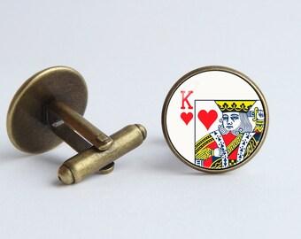 Playing card cufflinks King of Hearts Men cuff links Playing card jewelry Card gift Poker jewelry Poker cufflinks Cards cufflinks Mens gift