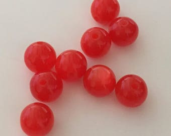 """20 pearls """"cat's eye"""" 8 mm - Red"""