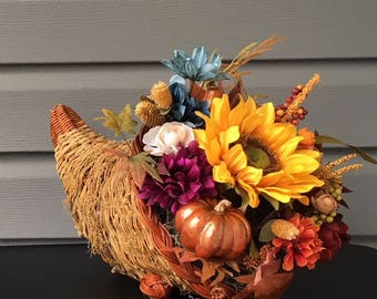 Fall Cornucopia, Thanksgiving Decor, Horn of Plenty, Floral Arrangement, Flower Arrangement, Fall Decor, Autumn Decor, Thanksgiving Table