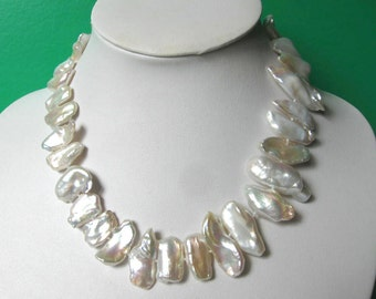 Gorgeous Extra Large White Biwa Freshwater Pearl  Nuggets Necklace