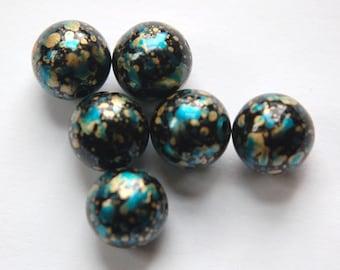 Vintage Metallic Blue and Gold Splatter Beads 14mm Germany bds256