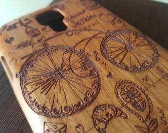 Samsung Galaxy S4 Floral Wooden Phone Case I LOVE PARIS Custom Design Natural Cherry Wood