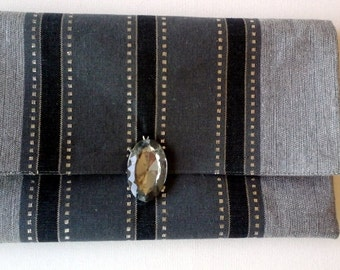 Evening clutch gray silver cotton  Party envelop bag, Wrist and cross body purse