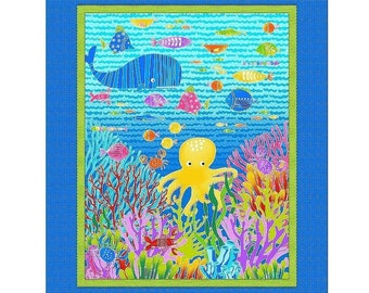 Alphabet Fish Under The Sea Panel 36in x 44in Cotton Fabric From Studio E