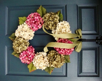 WREATHS | Front Door Wreath | Hydrangeas Wreath | Summer Door Wreath |  Hostess Gift |