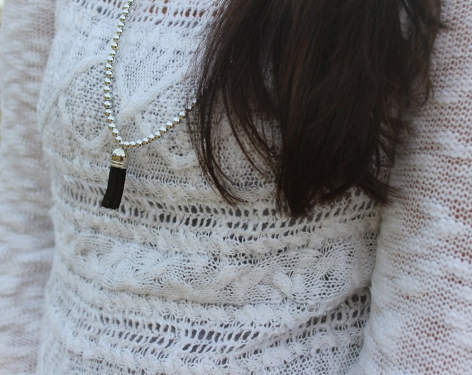 Silver and Black Tassel Necklace.
