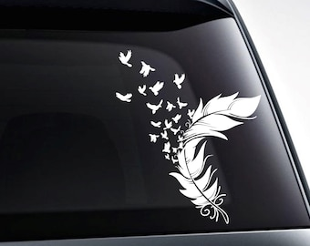 Birds from a feather die cut vinyl decal sticker for car windows, etc. High quality vinyl graphics, choose size and color
