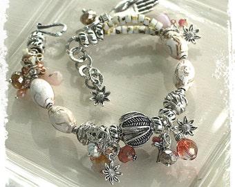 Chunky Boho Bracelet Hamsa Amulet Talisman Sunflower Charm Bracelet Mother's Day Gift Assemblage Jewelry White Silver Fatima hand