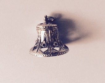 Wedding Bell sterling silver charm vintage #528