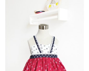 Size 7 Girls 4th of July Outfit  - Red White and Blue Dress – Tween Patriotic Dress – USA Dress – Sailor Dress – Special Occasion Outfit