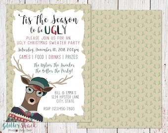 Hipster Ugly Christmas Sweater Party Invitation For Geeks, Nerds And Hipsters, 'Tis The Season To Be Ugly Invite