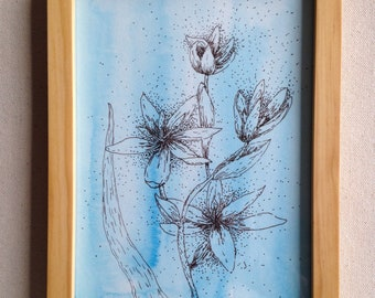Small Ink Flower Drawing - 7 x 5 - Flower on Blue 2