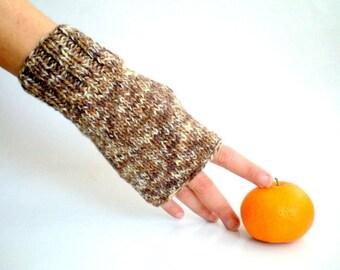 Tweed Brown Fingerless Gloves, Winter Gloves