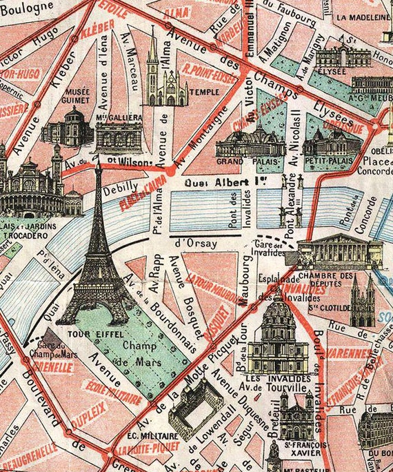 Old Map of Paris DIGITAL DOWNLOAD EphemeraAntique PARIS MapOld