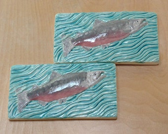 2 Chinook Salmon Subway Tile, 3 x 6 inch tile,turquoise for fisherman. handmade tile for fireplace kitchen or bath.