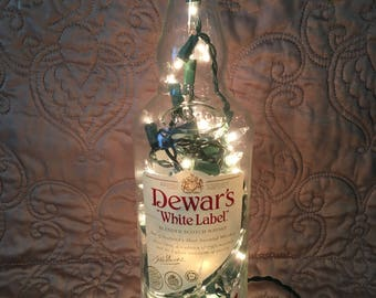 Dewar's White Label Liquor Lights | Glass Bottle Lights | Unique Gift | Housewarming Gift | Birthday Gift