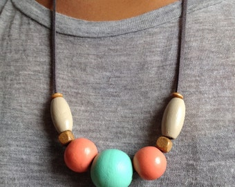 Handcrafted Wooden Bead Necklace w/Leather Cord • Mint & Coral •