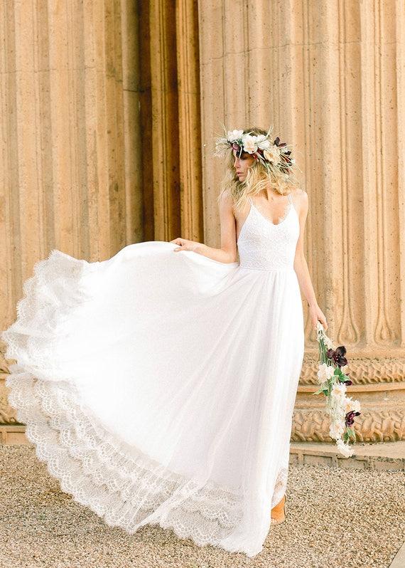 Silk Chiffon and Stretch Lace Beach Wedding Dress Beach
