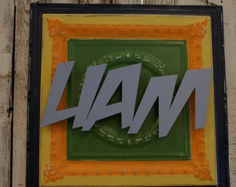 Hand Painted Personalized Name Plaque- Liam-  24x24 Repurposed Ceiling Tin  with Metal Name