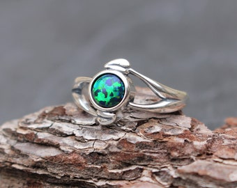 Size 8, Green Black Opal Ring, Sterling Silver, Leafy Design, Leaves, Black Opal, Green Opal, Opal Ring, Leaf Ring, Tree Ring, Forest Ring