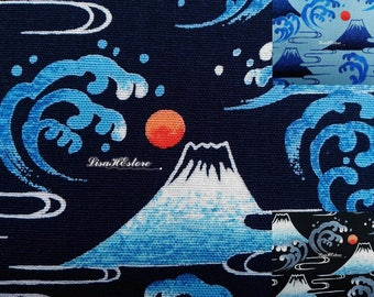 Mount Fuji landscape, 1/2 yard, pure cotton fabric