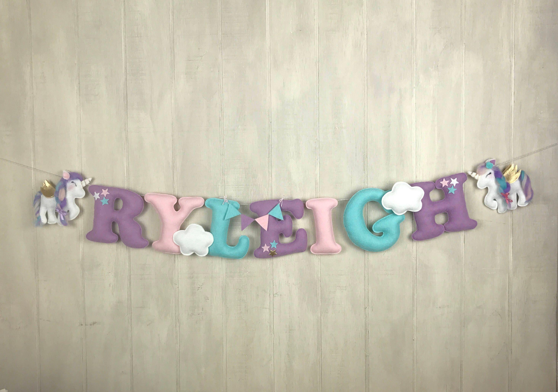 Name banner felt name banner unicorn baby baby girl name