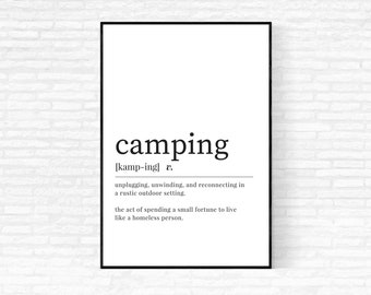 Camping Definition Print - DIGITAL DOWNLOAD - Camping Print - Camper Decor - Camping Dictionary Print - Let's Go Camping