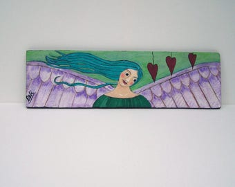 "Folk Art Angel painting Original, One of a kind 19"" x 5 1/2"""