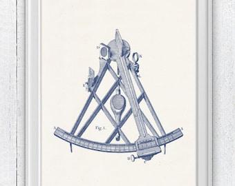 Vintage Sextant  in blue - Nautical tools poster -  sea life tools print- Vintage illustration sea life NTC028