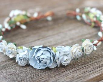 Dusty Blue Rose Wedding Flower Crown -  Floral Crown - Wedding Hair Crown -  Head Wreath - Wedding Flower Hair Wreath - Maternity Boho halo
