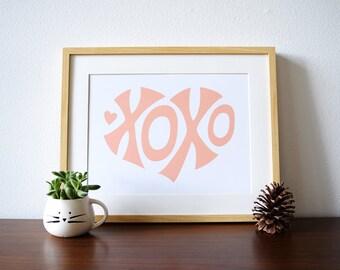 Nursery Print - XOXO Heart - a Scandinavian modern design print // 8.5x11 or 13x19 // nursery art girl // pink girls room wall art