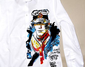 Corto Maltese T- Shirt, Sailor T- Shirt, Sailor- Adventurer, Hand Painted, Comic Character
