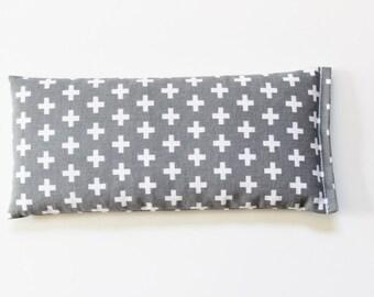 Flax Seed Pillow, Scandinavian Modern Lavender Eye Pillow, Relaxation Aromatherapy, Gray Swiss Cross