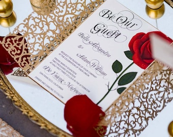 Gold laser cut invitation cardquinceanera invitation wedding beauty and the beast invitationred rose invitation cardquinceanera invitation wedding invitationbat mitzvah invitationsweet 16 stopboris Gallery