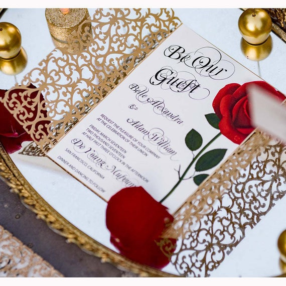 Beauty And The Beast Invitation/Red Rose Invitation