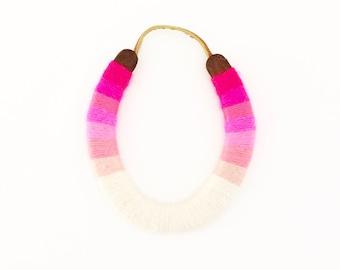 Custom Serape style lucky yarnbombed horseshoe pink ombré