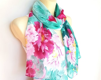 Blue Printed Scarf Spring Scarves for Women Scarves Floral Pink and Blue Scarf Women Long Boho Scarf Lightweight Scarf Gift Women Gift Mom