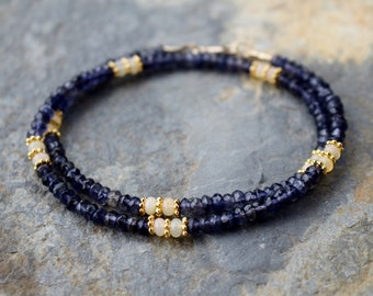 Iolite necklace, opal and iolite necklace, women's gemstone necklace, beaded gemstone necklace, iolite statement necklace, layering necklace