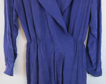 Vintage 1980s Liz Clairborne Purple 100% Silk Long Sleeve Dress Sz 12