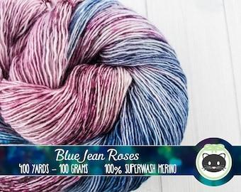 Blue and Pink Speckled Hand Dyed Yarn, Variegated yarn, Single Sock Yarn, Merino Wool Yarn, Kettle Dye, Superfly Comfort, Blue Jean Roses