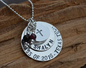 Personalized Jewelry Sterling Silver - Graduation, College, Going Away, Birthday,  School Colors , Christmas - Disc Necklace Stacked *