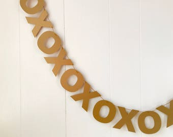Antique Gold XOXO Banner- Hugs and Kisses Garland- Valentines Bunting- Love Garland - Anniversary Garland -Bridal Shower - Wedding Decor - P