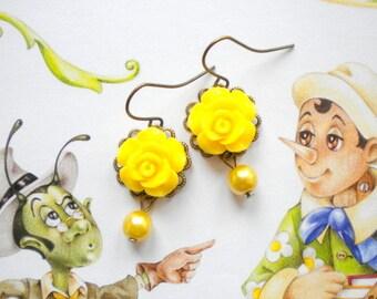 Flower Girl Earrings Yellow Dangle Earrings Yellow Bridesmaid Earrings Flower Girl Gift Babby Girl Yellow Rose Earrings Kid Pearl Earrings