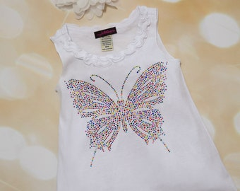 White Sleeveless Girls  Summer Dress Ruffle Girls Dress with Large Rhinetone Butterfly and matching headband