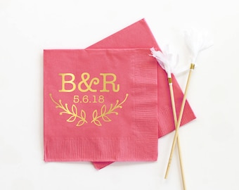 Personalized Napkins for Wedding Monogram Cocktail Napkins Custom Printed Napkins Coral and Gold Foil Napkins Monogrammed Party Supplies