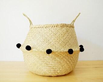 Pom Pom Sea Grass Belly Basket Black Panier Boule Nursery Toy Storage Planter Market Tote Bag