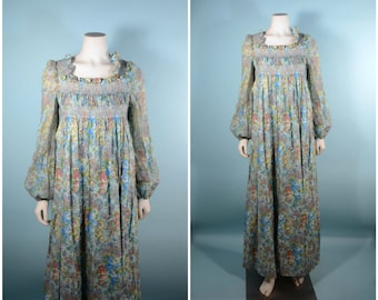 RARE Vintage 60s Bohemian Maxi Dress, Juliette Style Smocked Top Vicky Vaughn /Floral Hippie Boho Granny Dress SZ S