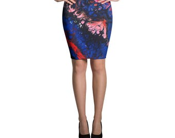 Blue Valentine Abstract Art Print Knee Length Pencil Skirt, Psychedelic Print Black Pink Red Blue Skirt, Valentine Skirt, Made to Order