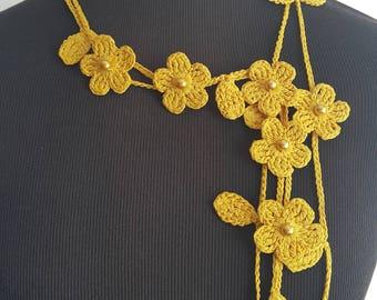 Crochet Necklace,Crochet Neck Accessory, Flower Necklace, Yellow, 100% Cotton.