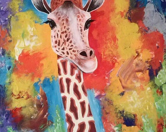 Amased Girraffe,African painting,African art,Acrylics on canvas painting,Hand painting.